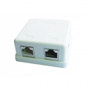 Gembird single jack surface mount box 2xRJ45 cat.5 half-shielded keystone, white