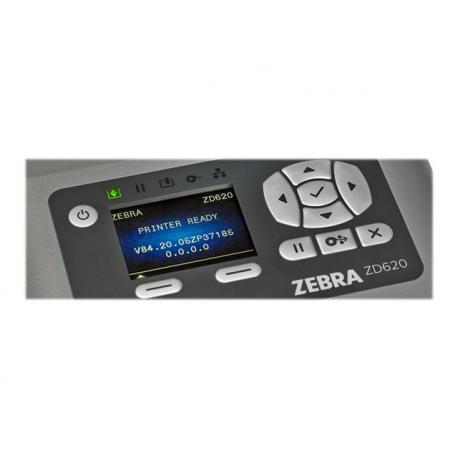 Zebra ZD620, 8 dots/mm (203 dpi), MS, RTC, EPLII, ZPLII, USB, RS232, BT, Ethernet