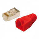 LOGILINK - Modular Plug CAT5e with Strain Relief Hood red 100 pcs
