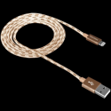 Lightning USB Cable for Apple, braided, metallic shell, 1M, Gold