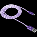 Lightning USB Cable for Apple, braided, metallic shell, 1M, Purple