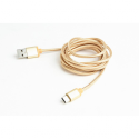 Gembird USB 2.0 cable to type-C, cotton braided, metal connectors, 1.8m, gold