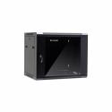 Netrack wall/hanging cabinet 19'',9U/450 mm,glass door,black,remov. side pan.