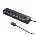 Gembird 7-port HUB USB 2.0 with switches, black