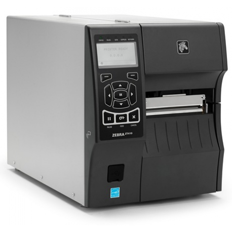 Zebra ZT411, 8 dots/mm (203 dpi), peeler, rewind, disp. (colour), RTC, EPL, ZPL, ZPLII, USB, RS232, BT, Ethernet