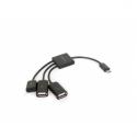 Gembird cable Micro USB OTG BM -> 2x USB AF + micro BF, 0,15 m