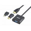 Unitek Adapter mini/micro HDMI to VGA + audio, Y-6355